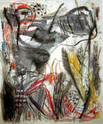 "DAMISCH Gunter  ""Ja zu Afrika"", 1985  charcoal, gouache, pastel / paper   150 x 120 cm     please click the image to enlarge"
